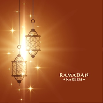 Glänzende ramadan kareem grußkartenschablone