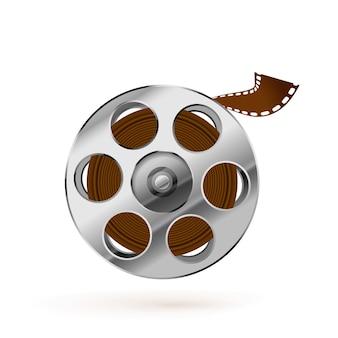 Glänzende realistische filmrolle und verdrehtes kinobandsymbol lokalisiert auf weißem hintergrund