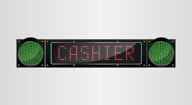 Glänzende retro-led-licht-banner mit kassierer zeichen