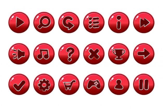 Glänzende rote knöpfe für alle arten von casual- und cartoons-elementen für spiele