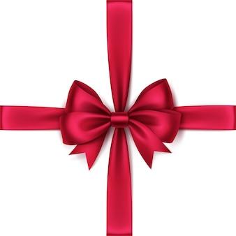Glänzende rote satinschleife und band draufsicht nahaufnahme isoliert