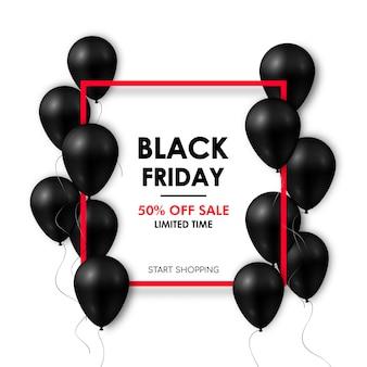 Glänzende schwarze ballone auf weißem hintergrund mit rotem rahmen.
