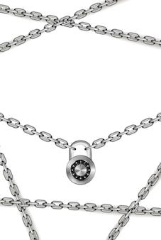 Glänzende silberne metallketten mit rundcode-vorhängeschloss auf weiß