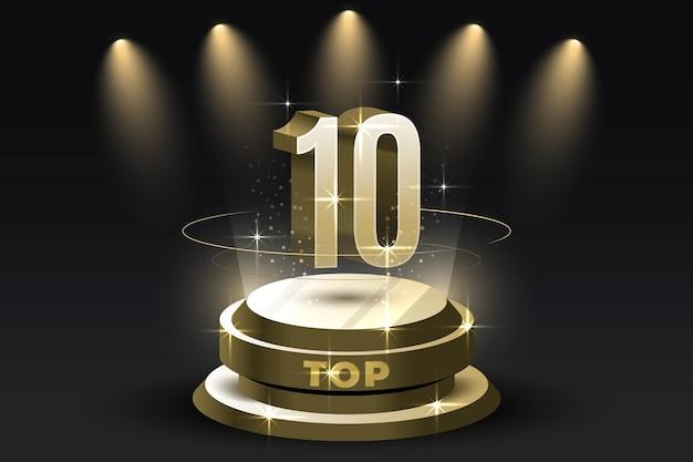 Glänzende top-ten-auszeichnung für das beste podium Kostenlosen Vektoren