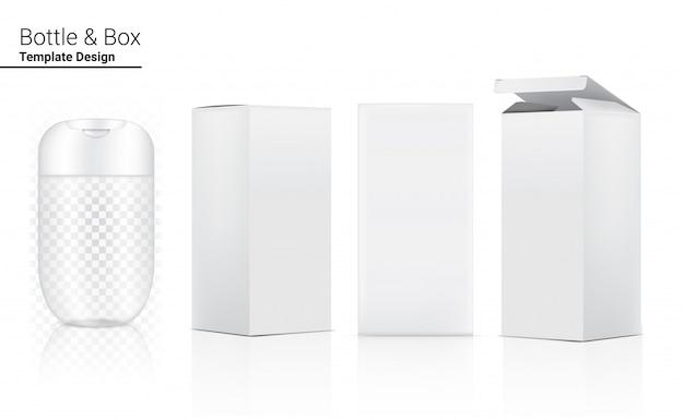 Glänzende transparente flasche realistische kosmetik und 3-dimensionale box zum aufhellen von hautpflege- und alterungsschutzmitteln gegen falten auf weißer hintergrundillustration. gesundheitswesen und medizin.