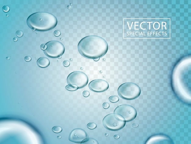 Glänzende wasserblasen und blaues licht können als spezialeffekte verwendet werden