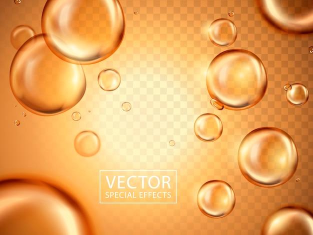 Glänzende wasserblasen und goldenes licht können als spezialeffekte verwendet werden