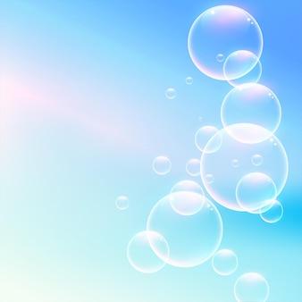 Glänzende weiche wasserblasen auf blauem hintergrund
