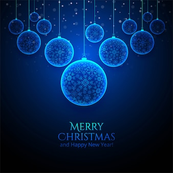 Glänzende weihnachtsschneeflockekugelkarte