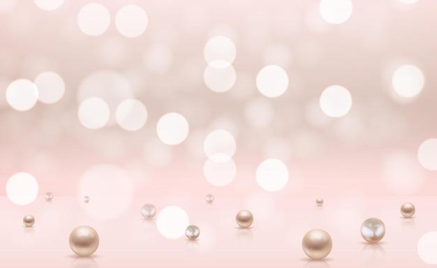 Glänzender abstrakter hintergrund mit realistischen perlen