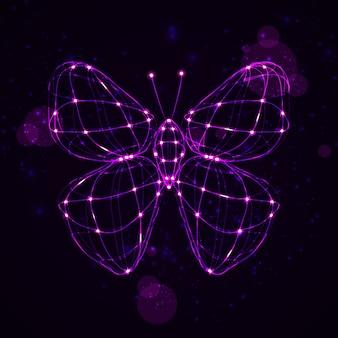 Glänzender abstrakter schmetterling, technologieenergieillustration