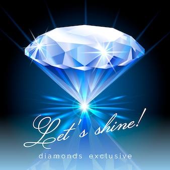 Glänzender diamant mit textillustration