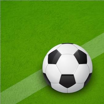Glänzender fußball auf dem feld. hintergrund.