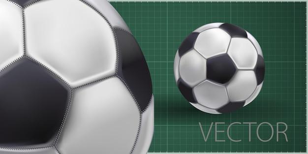 Glänzender fußball, der darauf wartet, getreten zu werden, vektor. hoch detaillierter realistischer fußball auf grünem hintergrund.