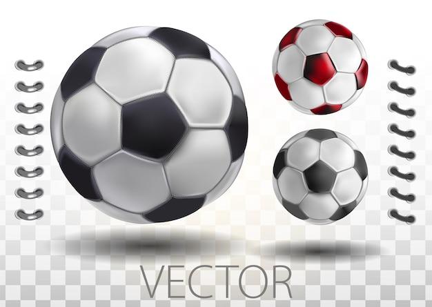 Glänzender fußball, der darauf wartet, getreten zu werden, vektor. hoch detaillierter realistischer fußball auf transparentem hintergrund. isolierte vektor-illustration auf einem transparenten hintergrund.