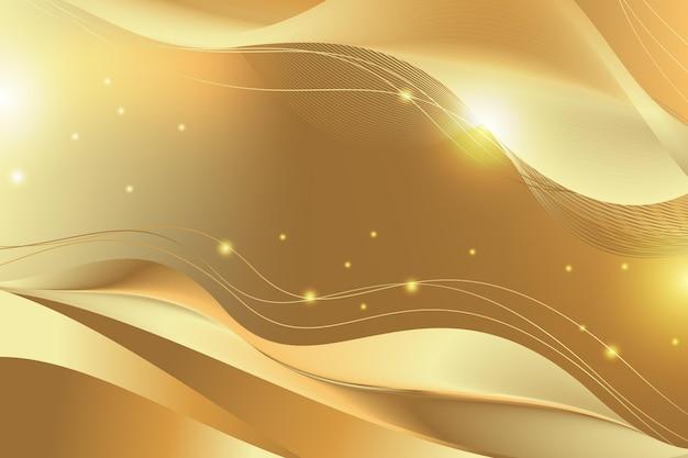 Glänzender glatter goldener wellenhintergrund