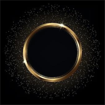 Glänzender goldener kreisrahmen auf schwarz leuchtendem luxushintergrund mit hellen lichtern und goldenen glitzern