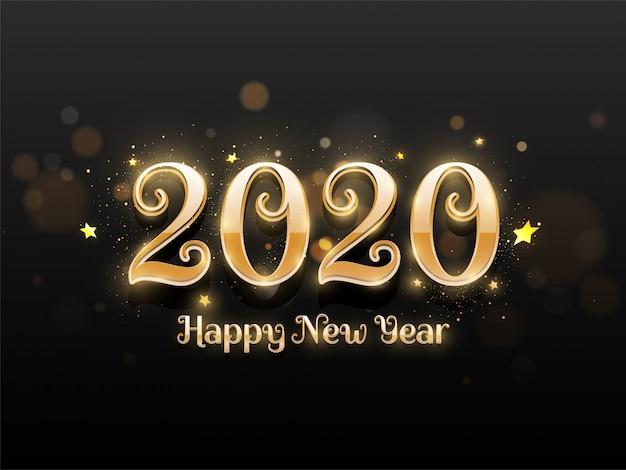 Glänzender goldener text von 2020 guten rutsch ins neue jahr verziert mit sternen auf schwarzer bokeh unschärfe.