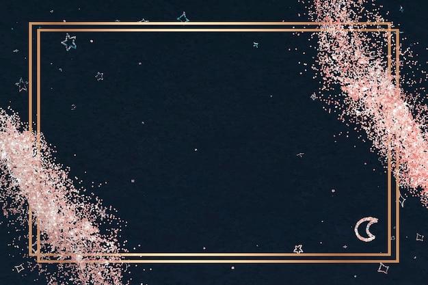 Glänzender goldrahmen und rosa glitzer