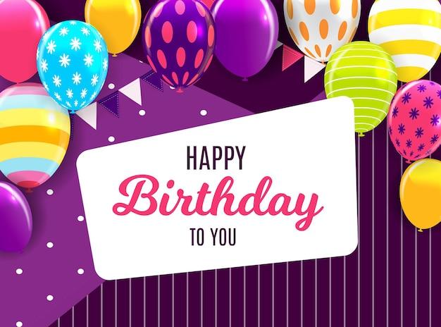 Glänzender happy birthday ballons hintergrund