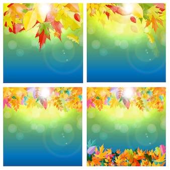 Glänzender herbst-natürliche blätter-hintergrund-satz. vektor-illustration eps10