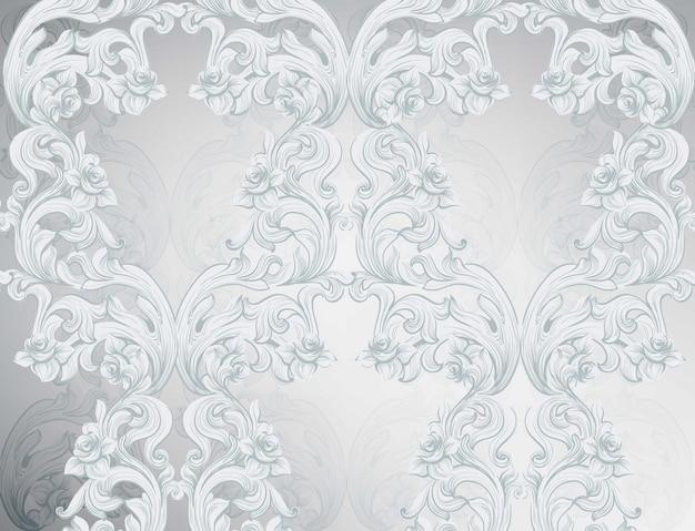 Glänzender hintergrund des barocken musters. ornament dekor für einladung, hochzeit, grußkarten. vektor-illustrationen