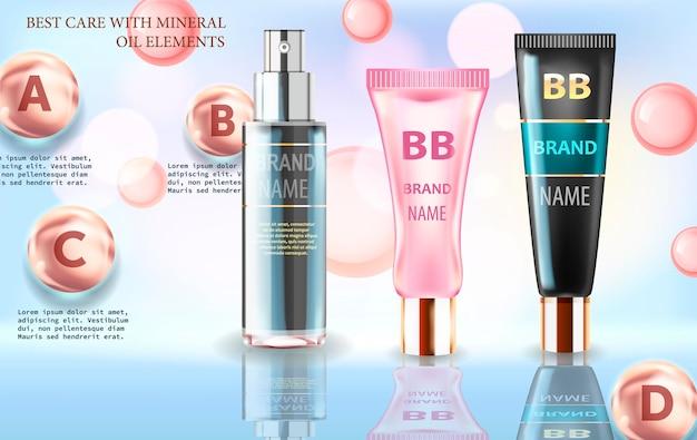 Glänzender hintergrund mit feuchtigkeitsspendenden kosmetischen premiumprodukten