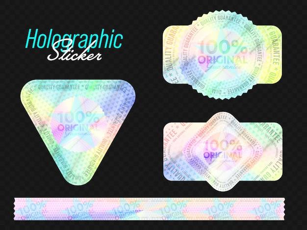Glänzender holografischer aufkleber, klebebandstreifen, stempelsiegel-set