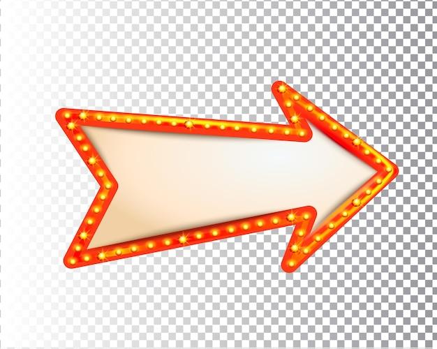 Glänzender isolierter retro-glühbirnenlichtrahmenpfeil auf transparentem hintergrund. vintage-stil-banner, schild, schild. perfekte vorlage für shows, casino, kino, zirkus. vektor-illustration eps 10