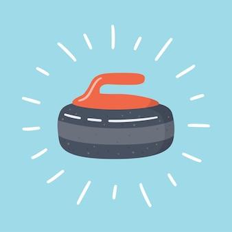 Glänzender lockenstein. curling sportspielausrüstung.