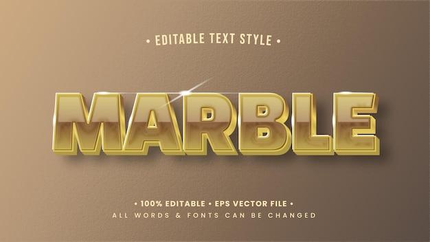 Glänzender marmor 3d-text-stil-effekt. bearbeitbarer illustrator-textstil.