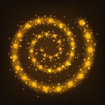 Glänzender rahmen der goldspirale