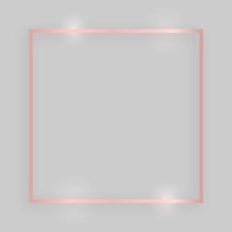 Glänzender rahmen mit leuchtenden effekten. quadratischer rahmen aus roségold mit schatten auf grauem hintergrund. vektor-illustration