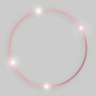 Glänzender rahmen mit leuchtenden effekten. runder rahmen aus roségold mit schatten auf grauem hintergrund. vektor-illustration