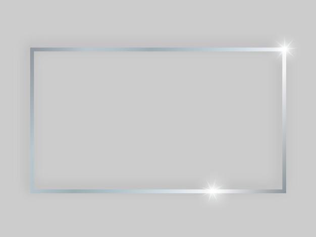 Glänzender rahmen mit leuchtenden effekten. silberner rechteckiger rahmen mit schatten auf grauem hintergrund. vektor-illustration