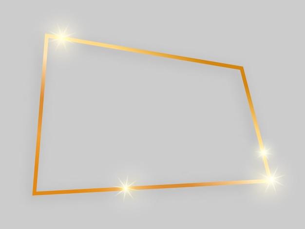 Glänzender rahmen mit leuchtenden effekten. viereckiger goldrahmen mit schatten auf grauem hintergrund. vektor-illustration