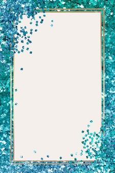 Glänzender rahmenvektor türkisfarbener hintergrund mit farbverlauf
