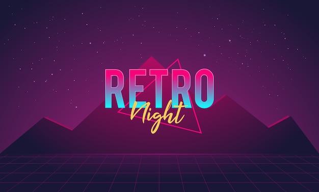 Glänzender retro-nacht-illustrations-hintergrund
