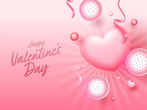 Glänzender rosa strahlen-hintergrund verziert mit herzen, bändern und kugeln oder kugel für glücklichen valentinstag.