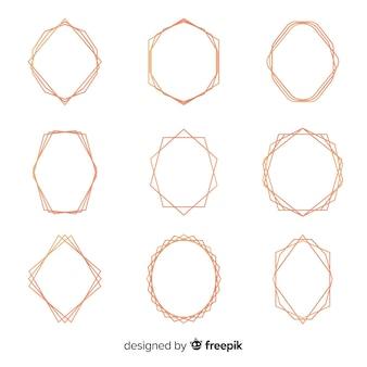 Glänzender roségold-rahmensatz