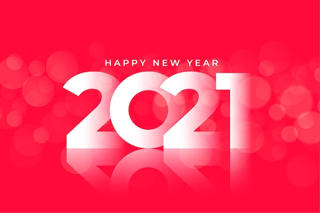 Glänzender roter hintergrundentwurf des glücklichen neuen jahres 2021