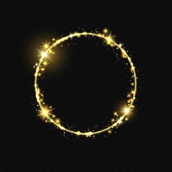 Glänzender runder rahmen. glänzender kreisrahmen, sternenstaub-glitzersternspur, runde glänzende magische wirbelillustration. glänzen sie rund glitzer, staub glühen und glänzend