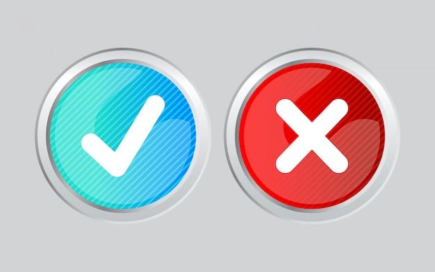 Glänzender runder splitterrahmen blauer und roter farbverlauf richtig falsch und häkchen glänzendes symbol akzeptieren und ablehnen. richtig und falsch. grün-roter farbverlauf isoliert