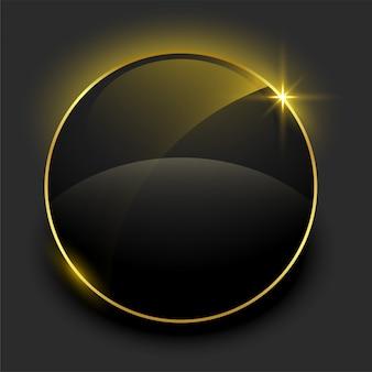 Glänzender schwarzer und goldener leerer rahmen