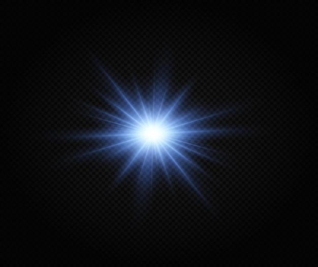 Glänzender silberner stern lichteffekt heller stern weihnachtsstern weißes leuchtendes licht explodiert