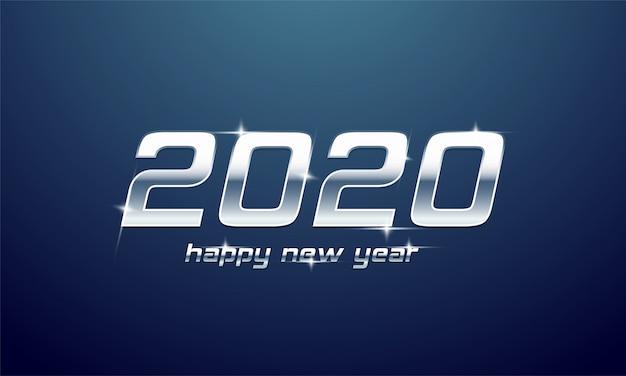 Glänzender silberner text von 2020 guten rutsch ins neue jahr auf blau