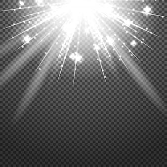 Glänzender sonnendurchbruch von sonnenstrahlen auf dem abstrakten sonnenscheinhintergrund und -transparenz. vektor-illustration