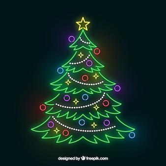 Glänzender weihnachtsbaum aus neonlichtern