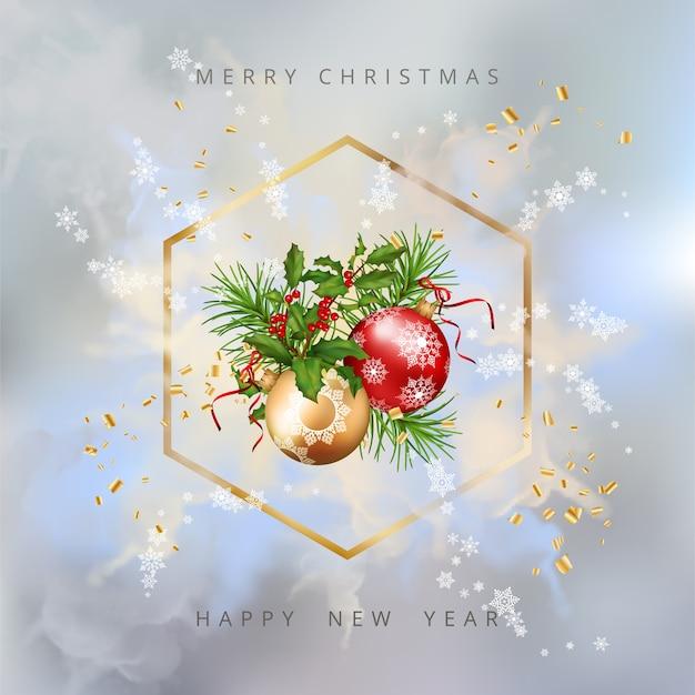 Glänzender weihnachtshintergrund mit goldrahmen und festlichen dekorationen