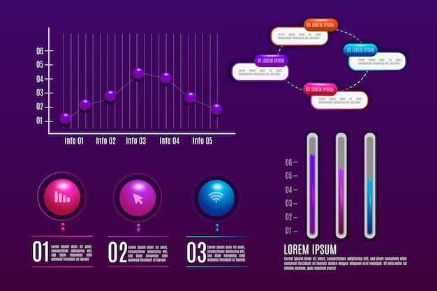 Glänzendes 3d-infografik-paket
